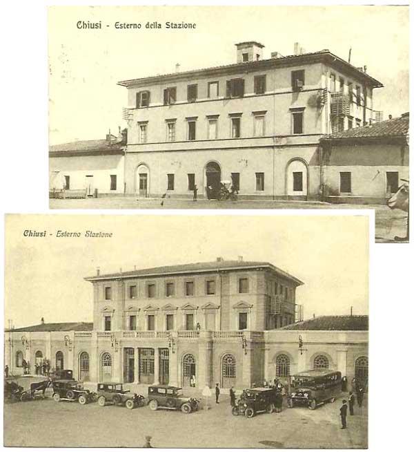 La stazione di Chiusi scalo in due cartoline: la prima dell'inizio del 1900 e la seconda della fine degli anni '30 inizio anni '40.