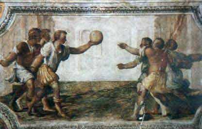 Ferrara, Castello degli Estensi. Affresco della sala dei giochi - opera del '500 (E' la più antica rappresentazione del gioco del pallone col bracciale)