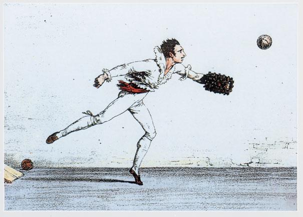 Raffigurazione di un giocatore di pallone col Bracciale in azione.